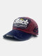 ユニセックスウォッシュドコットンパッチワーク破損文字番号刺繡ファッション野球帽 - ワインレッド