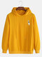 Mens Hi Astronaut Solid Color Drawstring Pullover Casual Hoodie - Yellow