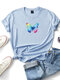 Butterfly Printed Short Sleeve O-neck T-shirt For Women - Blue