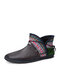 Plus Size Women Casual Ethnic Style Rhinestone Decor Comfortable Hand-stitched Boots - Brown
