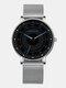 6 Colors Men Business Watch Adjustable Alloy Mesh Band Luminous Quartz Watch - Blue Pointer Silver Band