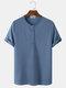 Herren gestrickte Waffel einfarbiges kurzärmliges lässiges T-Shirt - Blau