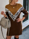 Leopard Print Contrast Color Long Sleeves O-neck Sweater Dress For Women - Khaki