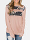 Calico Print Patchwork Long Sleeve Plus Size T-shirt For Women - Pink