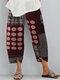 Vintage Print Elastic Waist Casual Pants For Women - Wine Red