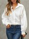 Women Solid Color Lantern Long Sleeve Button Casual Blouse - White