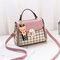 Women Plaid PU Leather Cute Bear Crossbody Bag Casual Handbag