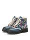 SOCOFY Embroidered Splicing Comfy Round Toe Leather Front Zipper Lace Up Casual Platform Short Boots - Blue