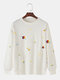 メンズコットンプラネットプリントラウンドネックカジュアルドロップスリーブスウェットシャツ - 白い