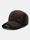 Men Woolen Warm Daily Outdoor Plus Hat Circumference Patchwork Ear Protection Baseball Hat - Brown