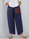 Ethnic Print Patchwork Plus Size Pants With Pockets - Navy