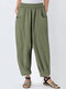 Solid Color Loose Casual Plus Size Harem Pants with Pockets - Green
