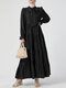Solid Color Knotted Pleated Long Sleeve Casual Layered Muslim Dress - Black