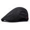 Men's Comfortable Cap Spring And Summer Embroidery Cotton Adjustable Fashion Beret Cap - Black