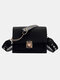 Women Hit color Frosted Casual Chains Crossbody Bag - Black