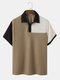 Mens Contrasting Color Patchwork Knitted Short Sleeve Golf Shirt - Khaki