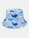 ユニセックスコットンオーバーレイ漫画クジラプラネットロケットコーラルプリント両面ウェアラブルファッションバケットハット - #02