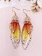 Vintage S925 Sterling Silver Butterfly Long Cicada Wings Gradient Earrings - 12