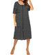 Casual Striped O-neck Short Sleeve Dress for Women - Black