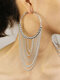 Alloy Exaggerated Long Tassel Large Multi-layer Earrings - Silver