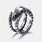 Vintage Geometric Sheep Bone Ring Metal Stereoscopic Animal Finger Ring Punk Jewelry - Silver