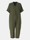 Solid Color Button Lapel Jumpsuit With Pocket - Green