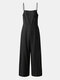 Solid Color Button Pocket Zipper Strap Sleeveless Loose Casual Jumpsuit - Black