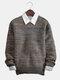 Mens Fashion Knitting Slim Fit Long Sleeve Sweater