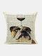 Animal Head Wine Glass Pattern Linen Cushion Cover Home Sofa Art Decor Throw Pillowcase - #11