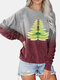 Chrimas Tree Print Patchwork O-neck Long Sleeve Plus Size T-shirt - Wine Red