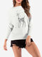 Rhinestones Sika Deer Loose Crew Neck Sweater