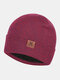 Men & Women Plus Thicken Warm Ear Protection Flanging Leather Label Decoration Knitted Hat Brimless Beanie - Wine Red