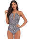 Plus Size Halter Striped Leopard Cover Tummy Slimming One Piece Swimsuits For Women