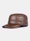 Men Cowhide Genuine Leather Military Cap Earflap Flat Cap - #02