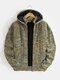Mens Zip Up Knitted Casual Drawstring Hooded Cardigans With Pocket - Green