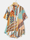 Striped Geometric Printed Stand Collar Short Sleeve Button Blouse - Green