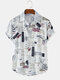 Men Vintage Pictorial Letter Printed Beach Casual Shirt - White