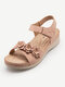 Women Brief Casual Solid Color Calico Hook & Loop Opened Stripe Sandals - Apricot