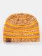 Women Wool Stripe Pattern Keep Warm Empty Top Ear Protection Knitted Hat - Yellow