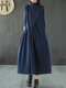 Casual Solid Color Half Collar Long Sleeve Plus Size Pleated Dress - Navy