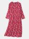 Women Vintage Floral Print O-neck Pocket Long Sleeve Maxi Dress - Red