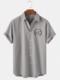 Mens Landscape Chest Print Lapel Cotton Plain Short Sleeve Shirts - Gray