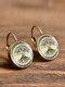 Vintage Glass Dangle Women Earrings Plant Flower Pattern Earrings Jewelry - #09