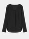 Casual Solid Long Sleeve V-Neck Chiffon Blouse For Women