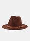 Unisex Woolen Felt Solid Color Rivet Buckle Strap Decoration Thicken Flat Brim Top Hat Fedora Hat - Coffee