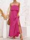 Summer Holiday Floral Leaves Solid Strapless Backless Slit Sexy Dress - Rose