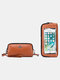 RFID Genuine Leather 6.5 inch Touch Screen Phone Bag Long Wallet Clutch Purse - Yellow