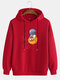 Mens Cartoon Astronaut Chest Print Solid Loose Drawstring Pullover Hoodies - Red