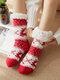 Calzino da donna alce natalizio Plus Velvet Sleep Calze Casual Floor Calze - Rosso