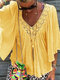 Solid Color Lace Patchwork Half Sleeve Blouse For Women - Yellow